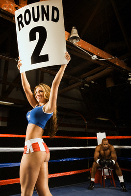 """Ring Girl"" Announcing Start of Round Two"